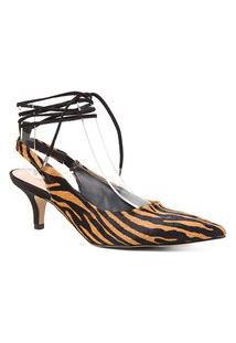 Scarpin Couro Shoestock Slingback Pelo Zebra Salto Baixo