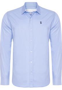 Camisa Masculina Tricoline Lisa - Azul