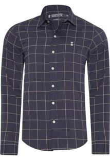Camisa Masculina Quadros Estampada - Cinza