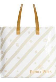 Bolsa Pedra Pura Praia Listras Feminina - Feminino-Branco+Dourado