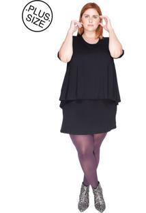 Vestido Sobreposto Bold Plus Size Preto
