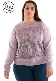 Blusão Moletom Plus Size Estampado Rosado