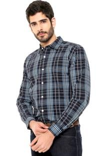 Camisa Wrangler Premium Preta/Azul