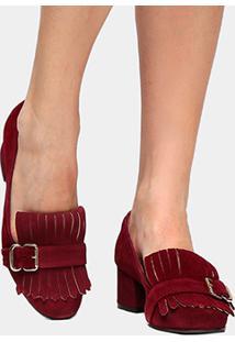 Scarpin Couro Shoestock Salto Médio Franja - Feminino-Vinho