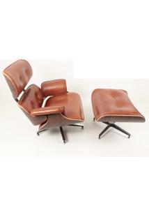Poltrona E Puff Charles Eames Imb. Couro Envelhecido Pinhão - Kanui