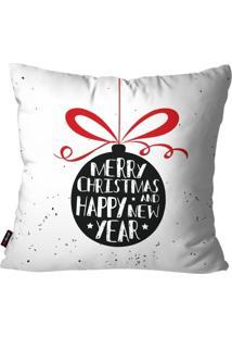 Capa De Almofada Pump Up Decorativa Avulsa Natalina Enfeite Merry Christmas Branco 45X45Cm - Branco - Dafiti