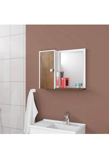 Espelheira Para Banheiro 1 Porta 2 Prateleiras Gênova Móveis Bechara Branco/Madeira Rústica