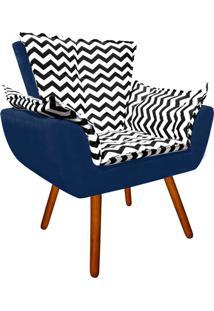 Poltrona Decorativa Opala Suede Compos㪠Estampado Zig Zag Preto D80 E Suede Azul Marinho - D'Rossi - Azul Marinho - Dafiti