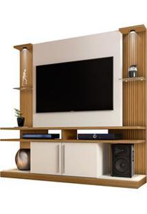 Estante Home Theater Para Tv Até 60 Pol. Com Led York Cinamomo/Off Whi