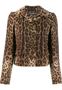 Dolce & Gabbana Jaqueta Animal Print - Marrom