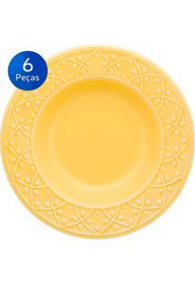 Conjunto De Pratos Fundos 6 Peças Mendi Sicilia - Oxford - Amarelo