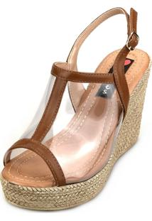 Sandália Anabela Love Shoes Alta Vinil Transparente Caramelo