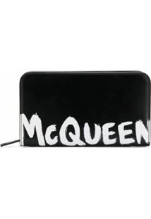 Alexander Mcqueen Carteira Com Logo - Preto