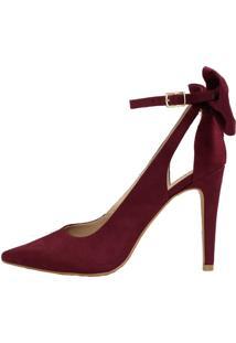 Scarpin Salto Alto Week Shoes Laço Traseiro Camurça Marsala - Kanui