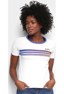 Camiseta Rusty Rainbow Feminina - Feminino-Branco+Azul