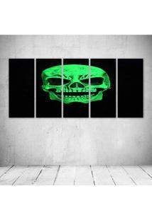 Quadro Decorativo - Green Skull - Composto De 5 Quadros