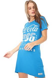 Vestido Coca-Cola Jeans Curto Aroma Lettering Azul
