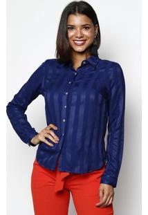 Camisa Acetinada Listrada - Azul Marinhovip Reserva