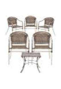 Jogo Cadeiras 5Un E Mesa De Centro Floripa Para Edicula Jardim Area Varanda Descanso - Argila