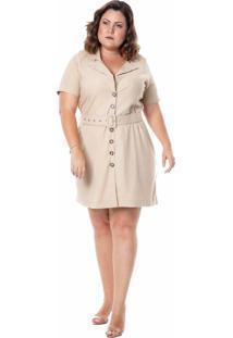 Vestido Kayla Chemisier Em Linho Com Cinto Cru