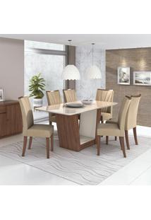 Conjunto De Mesa De Jantar Com 6 Cadeiras Apogeu Veludo Off White E Creme