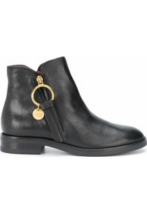 See By Chloé Ankle Boot Louise Com Zíper - Preto