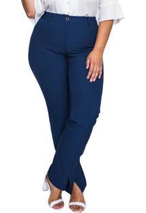 Calã§A Almaria Plus Size Pianeta Reta Azul Marinho - Azul/Azul Marinho - Feminino - Poliã©Ster - Dafiti