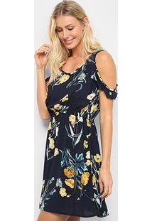 Vestido Curto Pérola Open Shoulder Floral - Feminino-Marinho+Amarelo