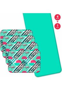 Jogo Americano Love Decor Com Caminho De Mesa Wevans Flamingos Geométricos Kit Com 4 Pçs 1 Trilho