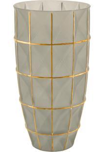 Vaso Fendi E Dourado Mart Em Vidro
