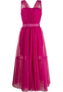 Pinko Vestido Midi Translúcido Com Tule - Rosa