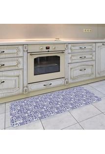 Tapete De Cozinha Mdecore Azulejo Azul 40X120Cm