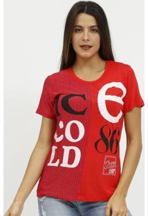 Camiseta Com Fio Metalizados & Inscriã§Ã£O- Vermelha & Pracoca-Cola