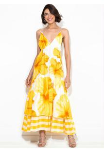 Vestido Cropped Vestida De Flor Amarelo