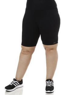 Bermuda Estilo Do Corpo De Tecido Plus Size Feminina - Feminino-Preto