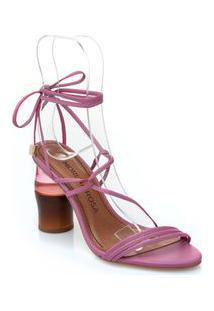 Sandalia Salto Madeira E Acrilico Com Amarracao Rosa