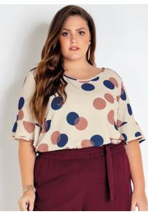 Blusa Plus Size Bege Poá E Detalhe Nas Costas