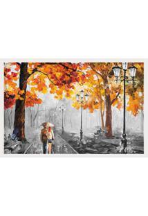Quadro Love Decor Com Moldura Outono Chuvoso Branco Médio