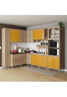 Cozinha Completa 16 Portas 5 Gavetas Sicília 5802 Amarelo/Argila - Multimóveis