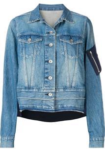 Sacai Jaqueta Jeans Com Detalhe Contrastante - Azul