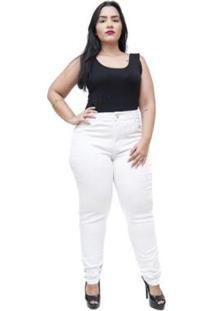 Calça Jeans Cheris Plus Size Skinny Maini Feminina - Feminino-Branco