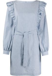 A.P.C. Vestido Listrado Com Babados - Azul