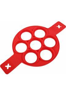 Forma Panqueca Silicone Para 7 Panquecas Vermelha