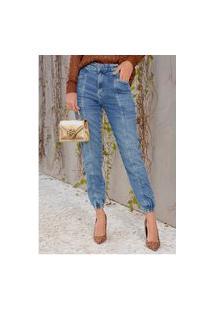Calça Jogger Jeans Com Elastano E Recortes E Bolsos Sob Azul