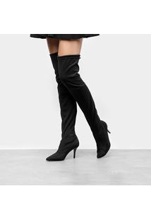 Bota Meia Over The Knee Zatz Strech Salto Fino Feminina - Feminino-Preto