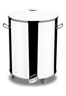 Lixeira Inox Com Rodízio E Pedal Abre E Fecha 110 Litros - Decorline Lixeiras Ø 51 X 61 X 67 Cm - Brinox