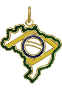 Pingente Prata Mil Mapa Do Brasil Com Bandeira Vazada Com Resina Dourado