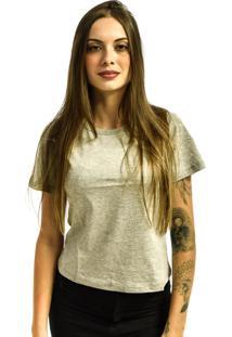 Camiseta Rich Young Baby Look Bã¡Sica Lisa Malha Cinza Mescla - Cinza - Feminino - Dafiti