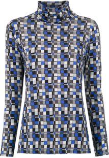 Alcaçuz Blusa 'Levar' Estampada - Azul