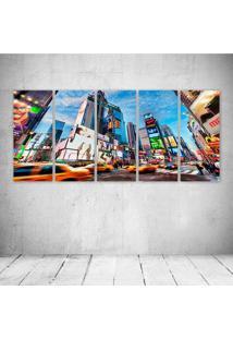 Quadro Decorativo - Times Square New York - Composto De 5 Quadros - Multicolorido - Dafiti